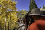 Shooting the Cumbres & Toltec Scenic Railroad through the aspens, from Chama, New Mexico