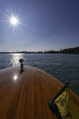 Water taxi, en route from Torcello to Venice, Italy