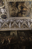 Art adorns the ceiling inside St. Mark's Basilica, San Marcos, Venice, Italy