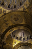 Gilt interior of St. Marks Basilica on night tour, Venice, Italy
