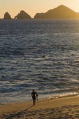 Surfing across from El Arco at sunset, Cabo San Lucas, Baja California Sur, Mexico