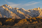 Lone Pine Peak and Mt. Whitney at sunrise, from the Alabama Hills, California
