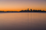 San Francisco skyine at dawn, from Sausalito, California