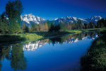 Grand Teton Mountain Range reflected in still waters of the Snake River