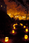 Luminarias light the path to Spruce Tree House