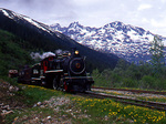 White Pass & Yukon Route Railway photo freight special with steam locomotive No. 73, 1947 Baldwin 2-8-2, Glacier, Alaska