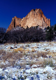 Spring snow and Gray Rock (Cathedral Rock), Garden of the Gods, Colorado Springs, Colorado