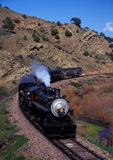 Steam locomotive No.1744 westbound pulling passenger excursion train, Colorado