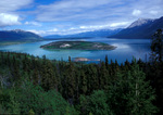 The view looking east over Tagish Lake with Bove Island, Yukon, Canada