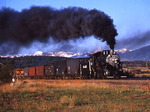 Steam locomotive No.18 , 1910 Alco 2-8-0 , with Special Photo Freight east of La Veta Colorado, Rio Grande Scenic Railroad.