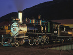 Night image of former Denver & Rio Grande Western Railroad steam locomotive No.315, Durango, Colorado