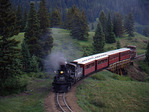 Cumbres & Toltec Scenic Railroad excursion train with steam locomotive No.488, Cumbres Pass, Colorado