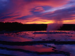 Sunset at Great Fountain Geyser, Yellowstone National Park, Wyoming