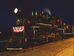 Night image of steam locomotive No.40, 1910 Baldwin 4-6-0, Nevada Northern Railway, East Ely, Nevada