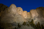 Night illumination of the faces of Mount Rushmore National Memorial, South Dakota