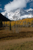 Light snow on the Maroon Bells with Fall Aspens, White River National Forest, Colorado