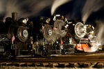Night image of five steam locomotives under steam, 2009 Steam Trains Festival, Steam Railroading Institute, Owosso, Michigan