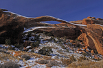 Winter view of Landscape Arch, Arches National Park, Utah