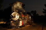 Night image of steam locomotive No.300, 1917 Baldwin 2-8-0, Texas State Railroad, Rusk, Texas