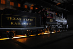 Night image of steam locomotive No.201, 1901 A.L.Cooke 4-6-0, in the Engine Shop, Texas State Railroad, Rusk, Texas