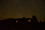 The night sky and the North and South Windows, Arches National Park, Utah