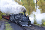 Steam locomotive No.487 with excursion train, Fall season, Cumbres & Toltec Scenic Railroad, Chama, New Mexico