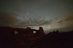 The night sky and North and South Windows, Arches National Park, Utah