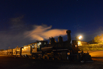 Night image of steam locomotive No.463 pulling a special stock train, Cumbres & Toltec Scenic Railroad, Chama, New Mexico