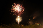Cumbres & Toltec Scenic Railroad train with steam locomotive No.484 and 4th of July Fireworks, Chama, New Mexico
