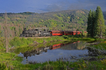 Evening light on excursion train and steam locomotive No.489, Cumbres & Toltec Scenic Railroad, Colorado