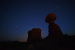 Balanced Rock and the night sky, Arches National Park, Utah