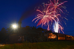 Cumbres & Toltec Scenic Railroad excursion train with steam locomotive No.487 and 4th of July Fireworks, Chama, New Mexico