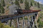 Former Denver & Rio Grande Western Railroad steam locomotive No.315 pulling special freight train, on the Cascade Trestle, Durango Railroad Historical Society, photographed on the Cumbres & Toltec Scenic Railroad, Colorado