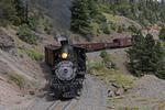 Former Denver & Rio Grande Western Railroad steam locomotive No.315 pulling special freight train, Durango Railroad Historical Society, photographed on the Cumbres & Toltec Scenic Railroad, Colorado