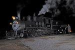 Night image of former Denver & Rio Grande Western Railroad steam locomotive No.315 at Cumbres Pass, Durango Railroad Historical Society, photographed on the Cumbres & Toltec Scenic Railroad, Colorado