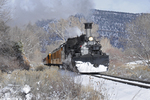 Steam locomotive No.473 pulling Cascade Canyon Winter Train, Durango & Silverton Narrow Gauge Railroad, Durango, Colorado