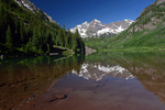 The Maroon Bells with reflection in Maroon Lake, Maroon Bells Scenic Area, White River National Forest, Colorado