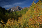 Morning light on Maroon Bells and Fall Aspens, Maroon Bells-Snowmass Wilderness, White River National Forest, Colorado