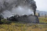 Steam locomotive double-header No.487 and No.463, Cumbres & Toltec Scenic Railroad, Fall season, Colorado.