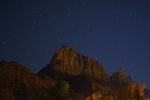 The Watchman and a star filled night sky, Zion National Park, Utah.