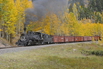 Steam locomotive No.453 pulling a Special Freight Train with Fall Aspens in the background, Cumbres & Toltec Scenic Railroad, Colorado