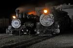 Night view of steam locomotives No.453 and No.484, Cumbres & Toltec Scenic Railroad, Antonito, Colorado