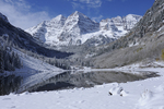 Fresh Fall Snow on the Maroon Bells with a reflection in Maroon Lake, Maroon Bells Scenic Area, Colorado