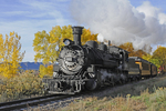 Durango & Silverton Narrow Gauge Railroad steam locomotive No.481 pulling excursion train with Fall season colors, Durango, Colorado