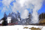 Steam locomotive double-header No.487 and No.488 pulling excursion train, Cumbres & Toltec Scenic Railroad, Colorado