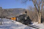 Cascade Canyon Winter Train with steam locomotive No.476, Durango & Silverton Narrow Gauge Railroad, Durango, Colorado