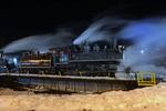 Night image of Southern Pacific steam locomotive No.18 at the Durango & Silverton Narrow Gauge Railroad, Durango, Colorado
