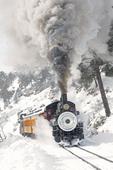 Southern Pacific steam locomotive No.18 pulling a Winter excursion train on the Durango & Silverton Narrow Gauge Railroad, Colorado