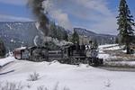 Steam locomotive double-header No.315 and No.484, Spring Season with snow, Cumbres & Toltec Scenic Railroad, Colorado