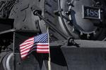 United States Flag displayed on steam locomotive No.488, Cumbres & Toltec Scenic Railroad, New Mexico